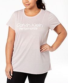 Calvin Klein Performance Plus Size Space-Dyed Pleated-Back Top
