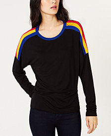 I.N.C. Striped-Shoulder Top, Created for Macy's