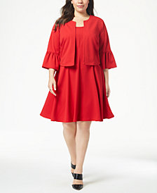 Robbie Bee Plus Size Fit & Flare Dress & Bell-Sleeve Jacket