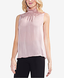 Vince Camuto Smocked Mock-Neck Sleeveless Top
