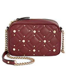 I.N.C. Quinn Imitation Pearl Stud Camera Crossbody, Created for Macy's
