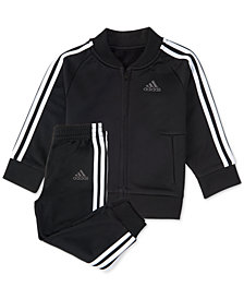 adidas Little Boys 2-Pc. Black Tricot Track Suit