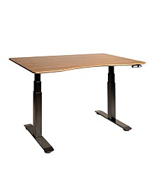 Seville Classics Airlift 3 Electric Standing Desk Black Steel Frame With Walnut Top