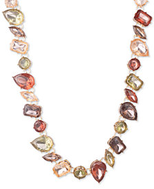 "Anne Klein Gold-Tone Stone Collar Necklace, 16"" + 3"" extender"