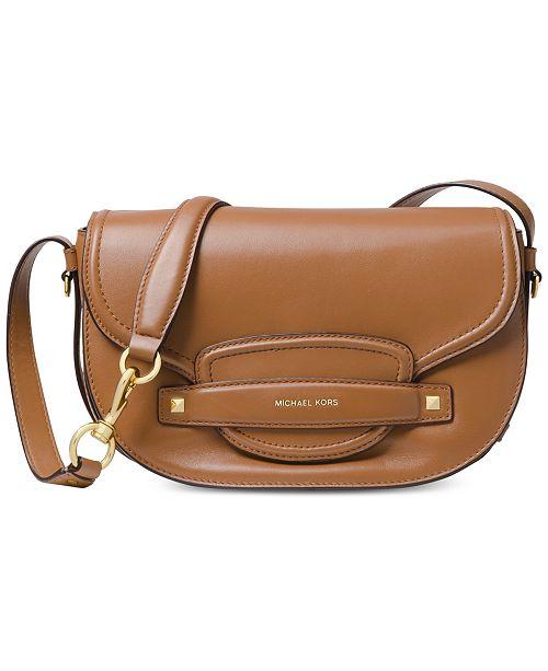 aedddeeb00310b Michael Kors Cary Leather Saddle Crossbody & Reviews - Handbags ...