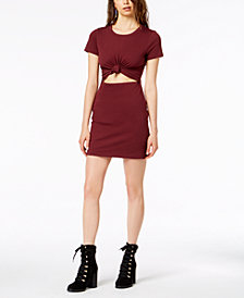 Socialite Juniors Tie-Front Cutout Dress