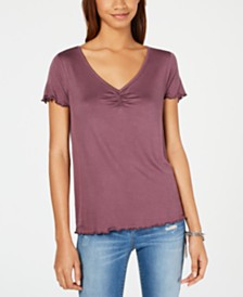 Hippie Rose Juniors' Ruched T-Shirt