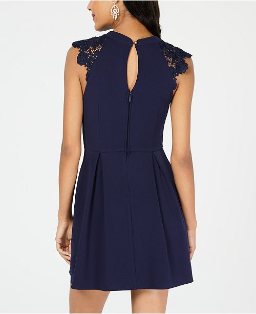 Lace Navy Dress Flare Fit Juniors' Contrast amp; Speechless BqOAnn