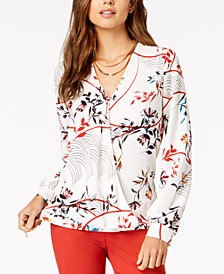 Alfani Petite Print Wrap Blouse, Created for Macy's