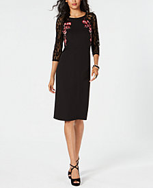 Thalia Sodi Embroidered Lace-Sleeve Dress, Created for Macy's