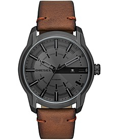 Men's Brown Leather Strap Watch 51mm