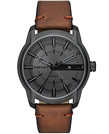 Diesel Men's Brown Leather Strap Watch 51mm