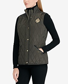 Faux-Leather-Trim Quilted Vest
