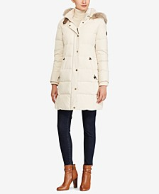 Petite Faux-Fur-Trim Quilted Down Coat, Created For Macy's