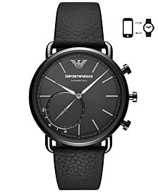 Men's Black Leather Strap Hybrid Smart Watch 43mm