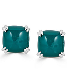 Green Agate Curved Claw Stud Earrings in Sterling Silver
