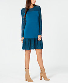 MICHAEL Michael Kors Pointelle Trim Flounce Dress, In Regular & Petite Sizes