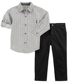 Calvin Klein Toddler Boys 2-Pc. Woven Cotton Shirt & Pants Set