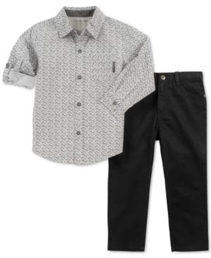 Calvin Klein Little Boys 2Pc Woven Cotton Shirt  Pants Set