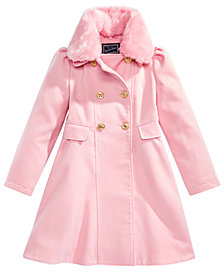 S. Rothschild Little Girls Double-Breasted Coat with Faux-Fur Collar