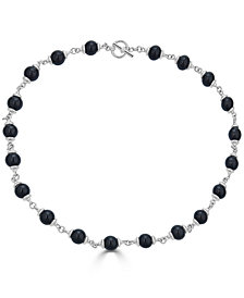 "Onyx (8mm) Bead Link 21"" Collar Necklace in Sterling Silver"