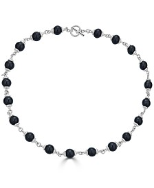 """Onyx (8mm) Bead Link 21"""" Collar Necklace in Sterling Silver"""