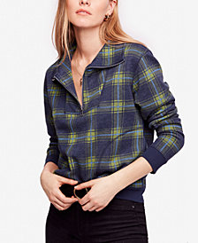 Free People Why Not Plaid Zip-Front Sweatshirt