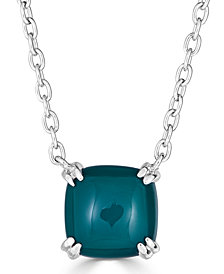 """Green Agate Curved Claw 18"""" Pendant Necklace in Sterling Silver"""