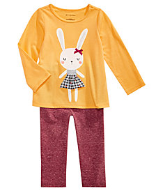 First Impressions Baby Girls Bunny-Print T-Shirt & Metallic Leggings, Created for Macy's