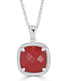 "Red Agate Twist 18"" Pendant Necklace in Sterling Silver"
