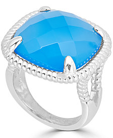 Blue Agate Twist Frame Statement Ring in Sterling Silver