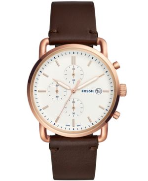 FOSSIL Men'S Chronograph Commuter Brown Leather Strap Watch 42Mm
