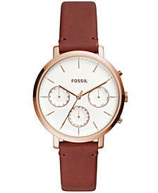 Fossil Womens Sylvia Brown Leather Strap Watch ES4434
