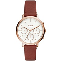Fossil Women's ES4434 Sylvia Brown Leather Strap Watch