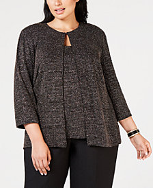 Alex Evenings Plus Size Metallic Shine Jacket Top Set