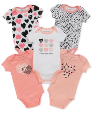 Calvin Klein Baby Girls 5Pack Printed Bodysuits