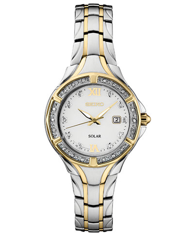Seiko Women's Solar Diamond Collection Diamond-Accent Two-Tone Stainless Steel Bracelet Watch 29mm
