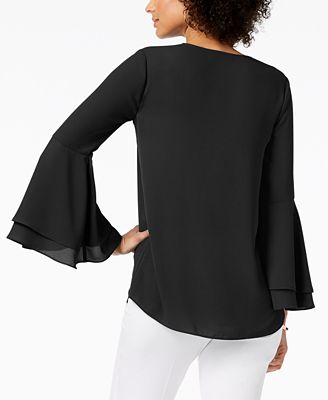 Alfani Petite Bell Sleeve Blouse Created For Macy S Tops