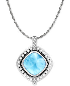 "Marahlago Larimar & White Sapphire Accent 21"" Pendant Necklace in Sterling Silver"
