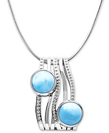 "Marahlago Larimar Contemporary 21"" Pendant Necklace in Sterling Silver"