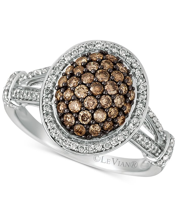 Le Vian - Diamond Oval Cluster Ring (7/8 ct. t.w.) in 14k White Gold