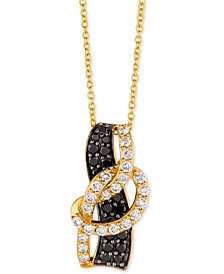 "Le Vian Exotics® Diamond Loop 18"" Pendant Necklace (1 ct. t.w.) in 14k Gold"
