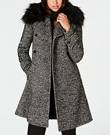 MICHAEL Michael Kors Faux-Fur-Trim Coat