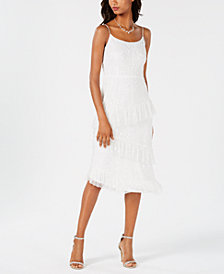 Adrianna Papell Beaded Asymmetrical Ruffle Dress