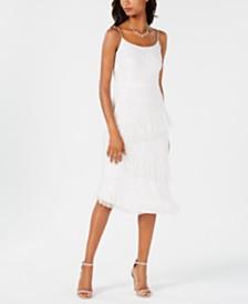 Adrianna Papell Beaded Asymmetrical Ruffle Dress