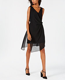 Adrianna Papell Chiffon Wrap A-Line Dress