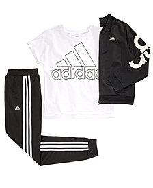 adidas Big Girls Cropped Bomber Jacket, Cropped Logo-Print Sweatshirt & Tricot Jogger Pants