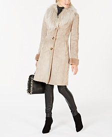 Via Spiga Faux-Fur-Trim Coat