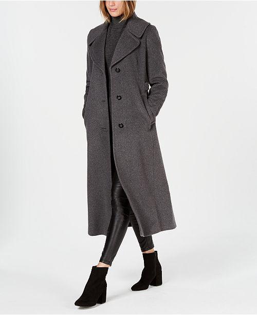 84b89b9bdc01e6 Calvin Klein Notch-Collar Maxi Coat & Reviews - Coats - Women ...