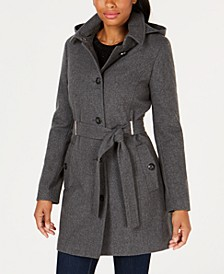 Petite Hooded Belted Coat